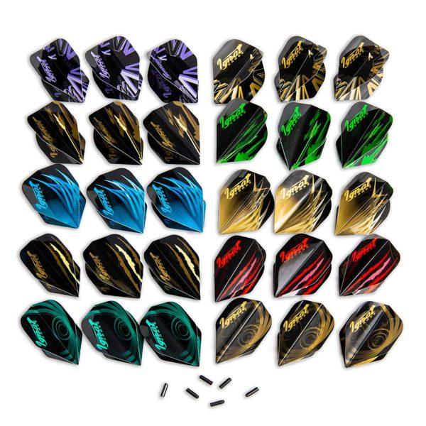 10 Sets Diferentes de Plumas de Dardos (Forma Estándar) y 6 Protectores de Plumas