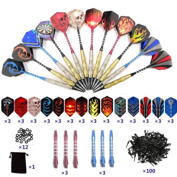 12 Dardos Punta Plastico para Diana Electrónica Profesionales + 42 Plumas de 14 Patrones + 100 Puntas